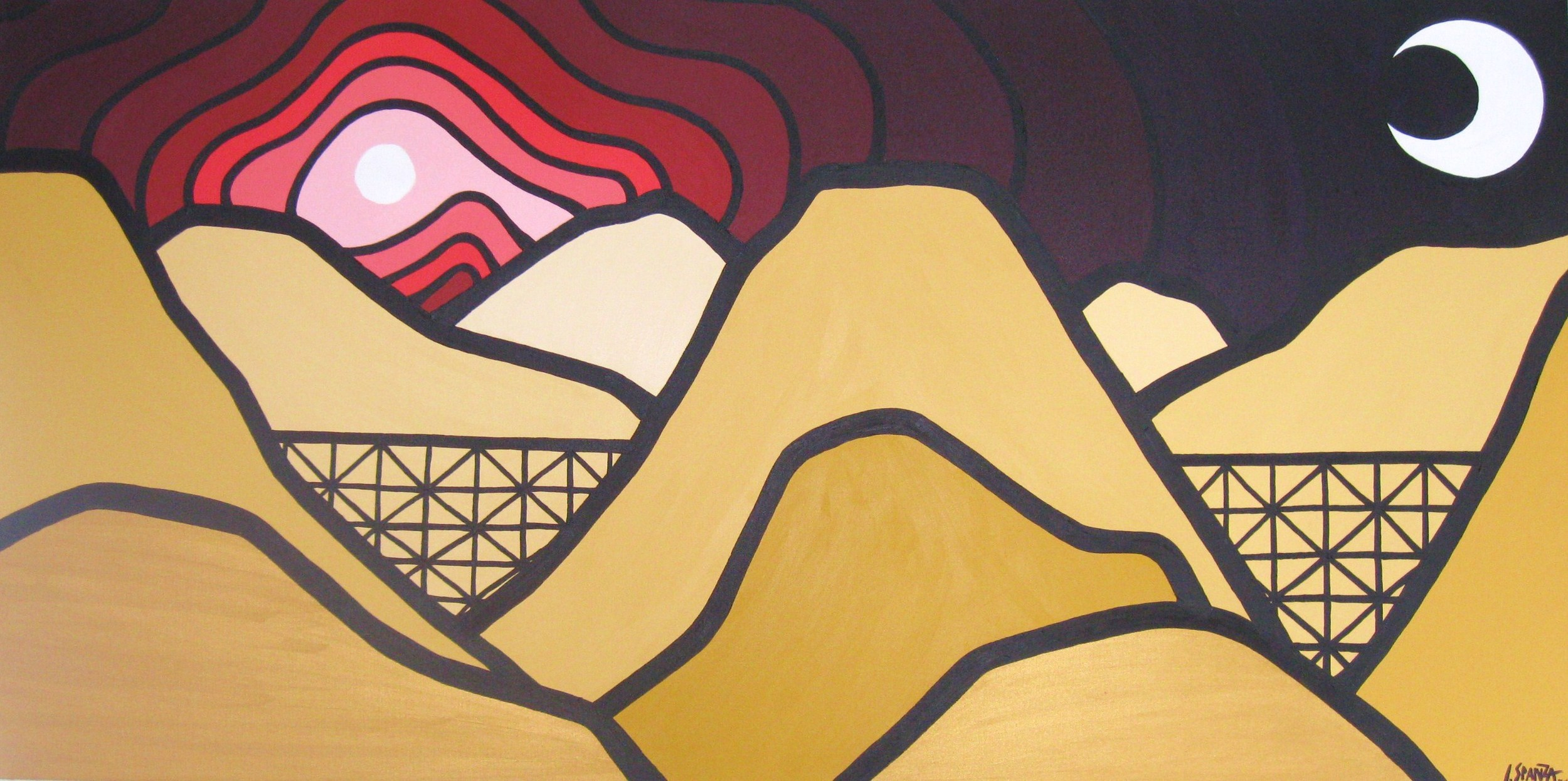 "Title: Myra Canyon, 2010  Size: 24"" x 48"" Acrylic on Canvas  SOLD"