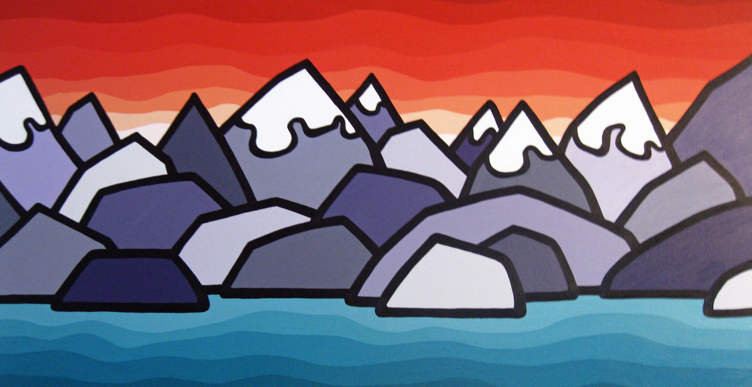 """Title: Sunset in the Mountains  Size: 24"""" x 48"""" Acrylic on Canvas  SOLD"""