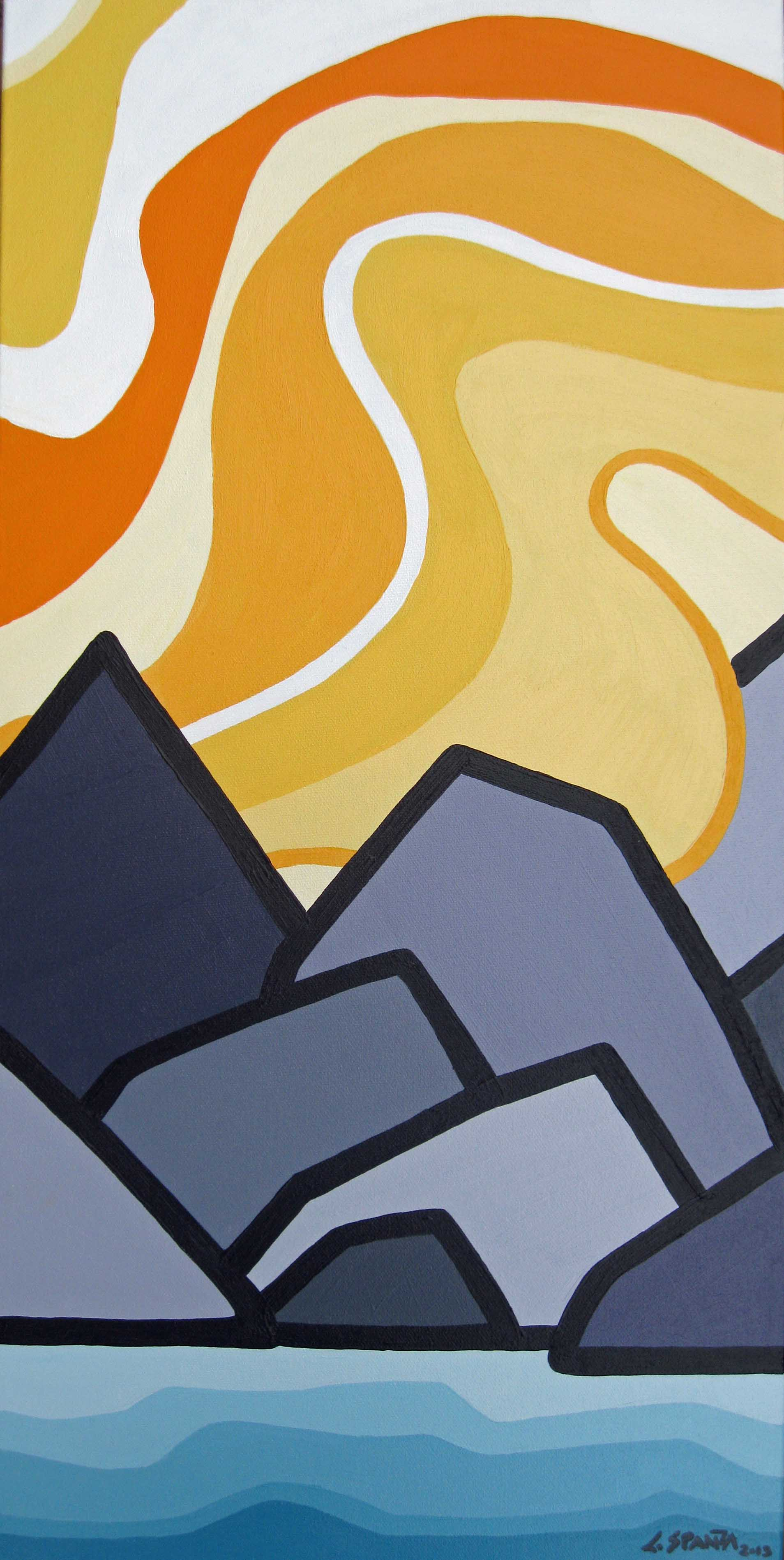 """Title: Our Sunshine Coast  Size: 24"""" x 12"""" Acrylic on Canvas  SOLD"""