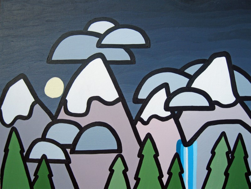 """Title: Goodnight Moon  Size: 18"""" x 24"""" Acrylic on Canvas  SOLD"""