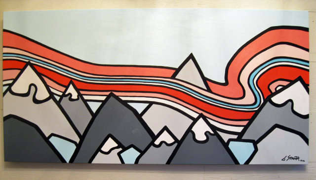 """Title: Always Chasing Mountains  Size: 24"""" x 48"""" acrylic on canvas  SOLD"""