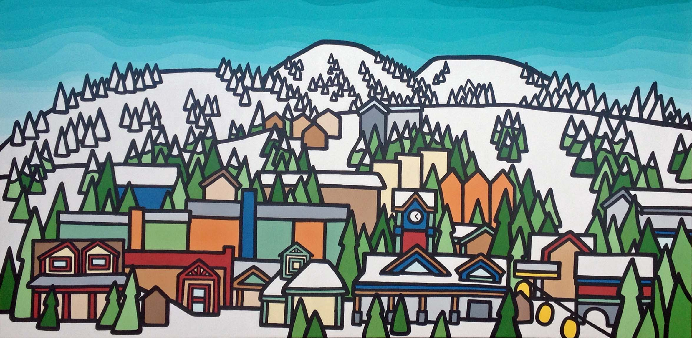 "Title: Big White Village, 2014  Size: 30"" x 60"" acrylic on canvas  SOLD"