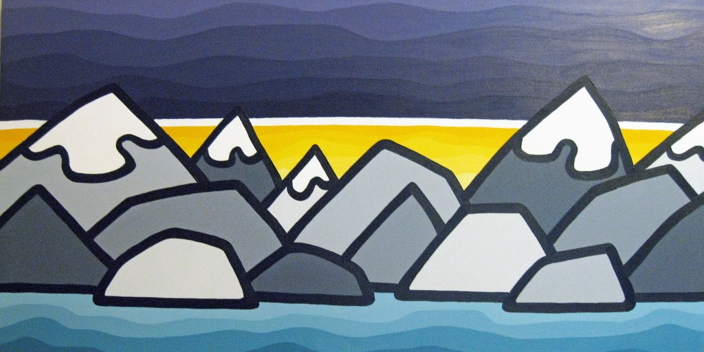 "Title: Selkirk Sunrise, 2012  Size: 18"" x 36"" acrylic on canvas  SOLD"