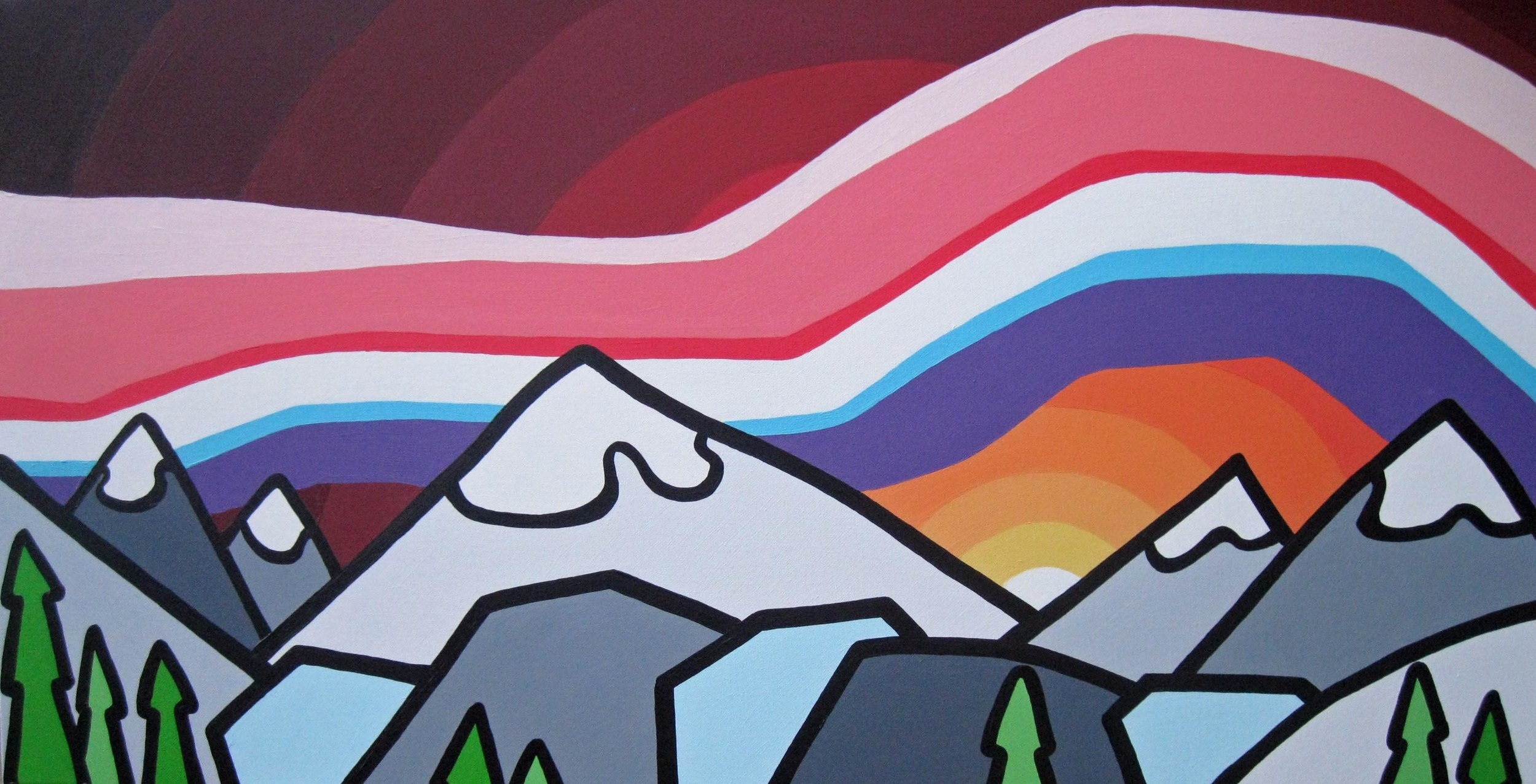 "Title: Chasing Mountains, 2012  Size: 18"" x 36"" acrylic on canvas  SOLD"