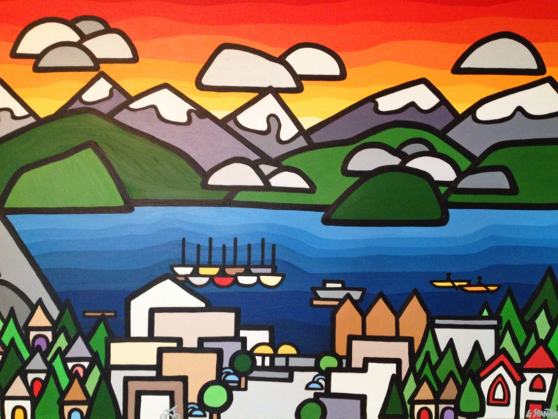 "Title: Deep Cove, 2013  Size: 36"" x 48"" acrylic on canvas  SOLD - COMMISSION"