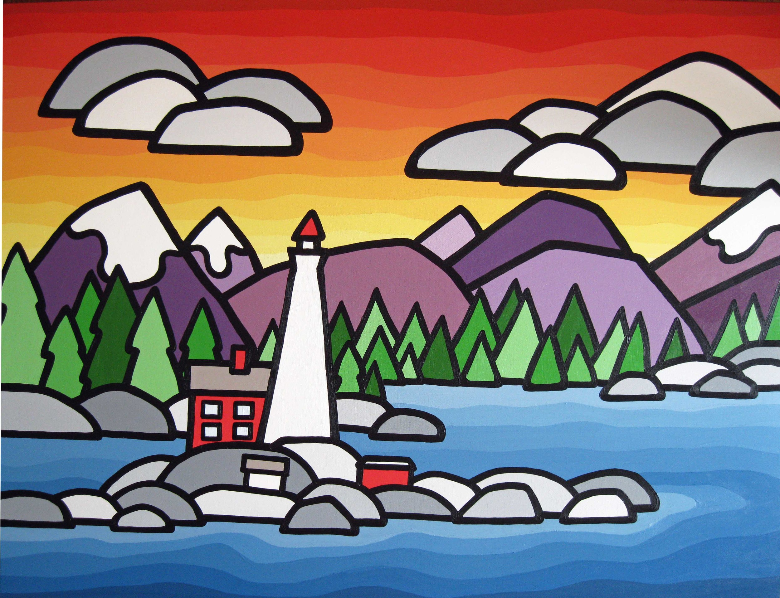 "Title: Fisgard Lighthouse, 2013  SIze: 20"" x 40"" acrylic on canvas  SOLD - COMMISSION"