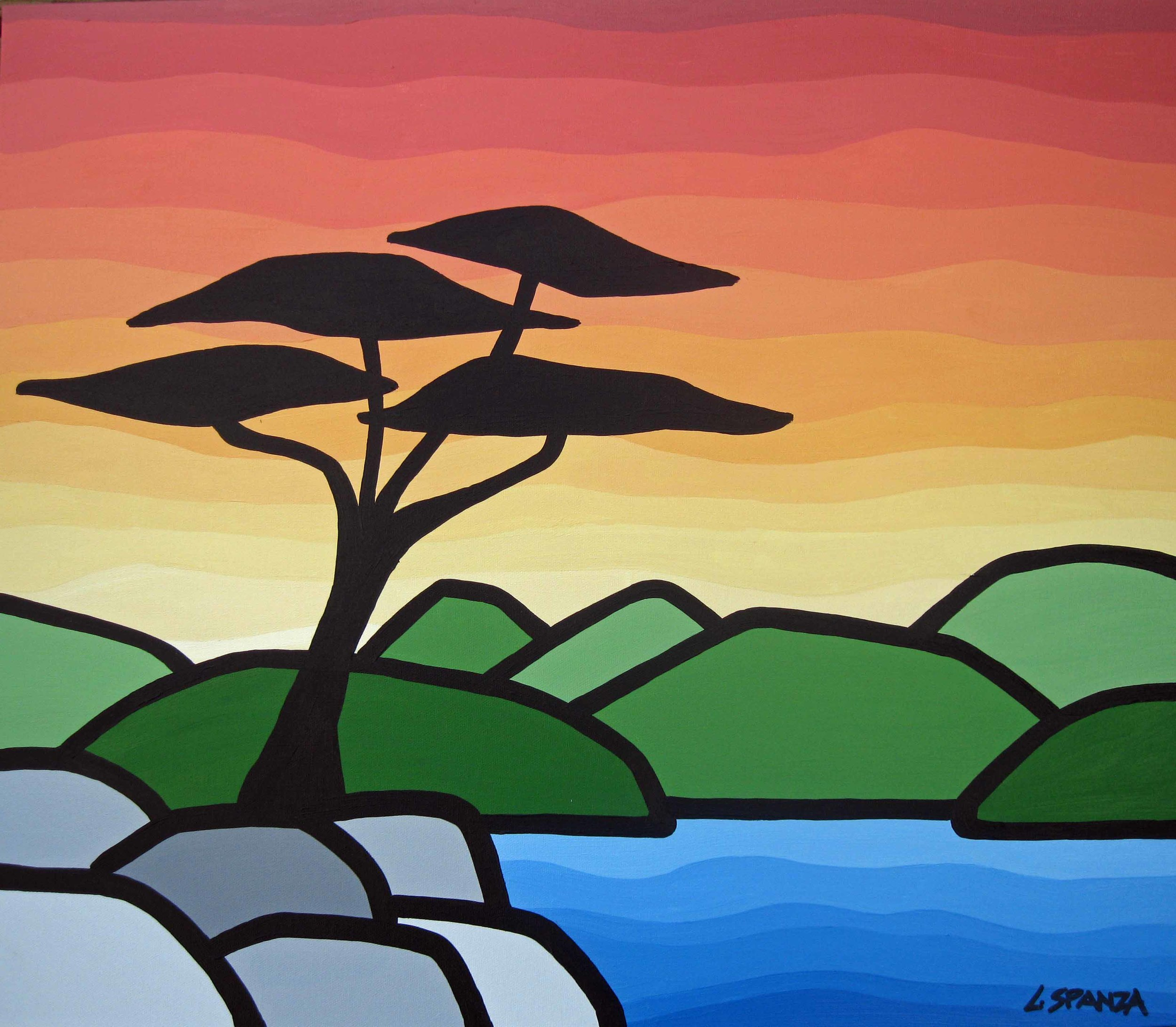 "Title: Sunset and the Arbutus, 2013  Size: 20"" x 24"" acrylic on canvas  SOLD"