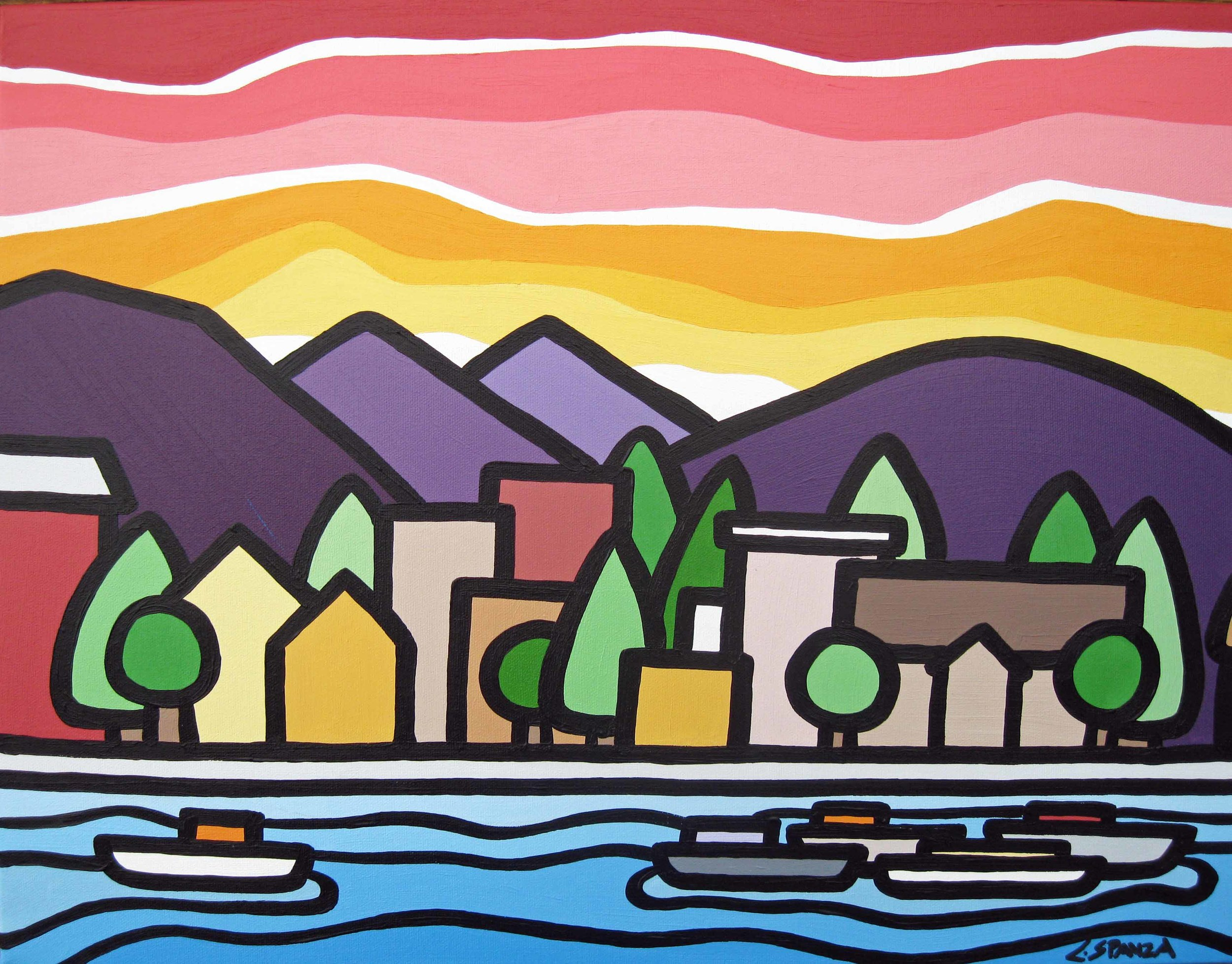 "Title: Waterfront, 2013  Size: 16"" x 20"" acrylic on canvas  SOLD"