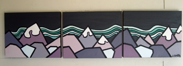 "Title: The Lights, 2012  Size: 16"" x 60"" triptych, acrylic on canvas  SOLD"