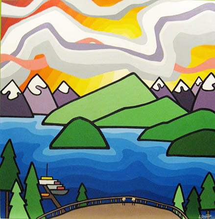 "Title: Westcoast Wilderness Lodge, 2012  Size: 60"" x 60"" acrylic on canvas  SOLD - COMMISSION"