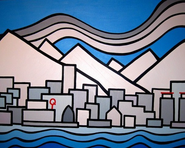 "Title: North Vancouver, A View From the Seabus 2012  Size: 30"" x 40"" acrylic on canvas  SOLD"