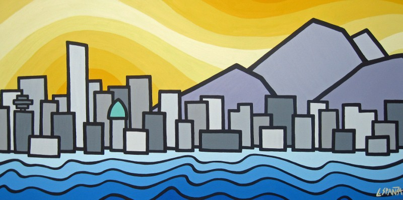 "Title: Vancouver & Mt Baker, 2012  Size: 24"" x 48"" acrylic on canvas  SOLD"
