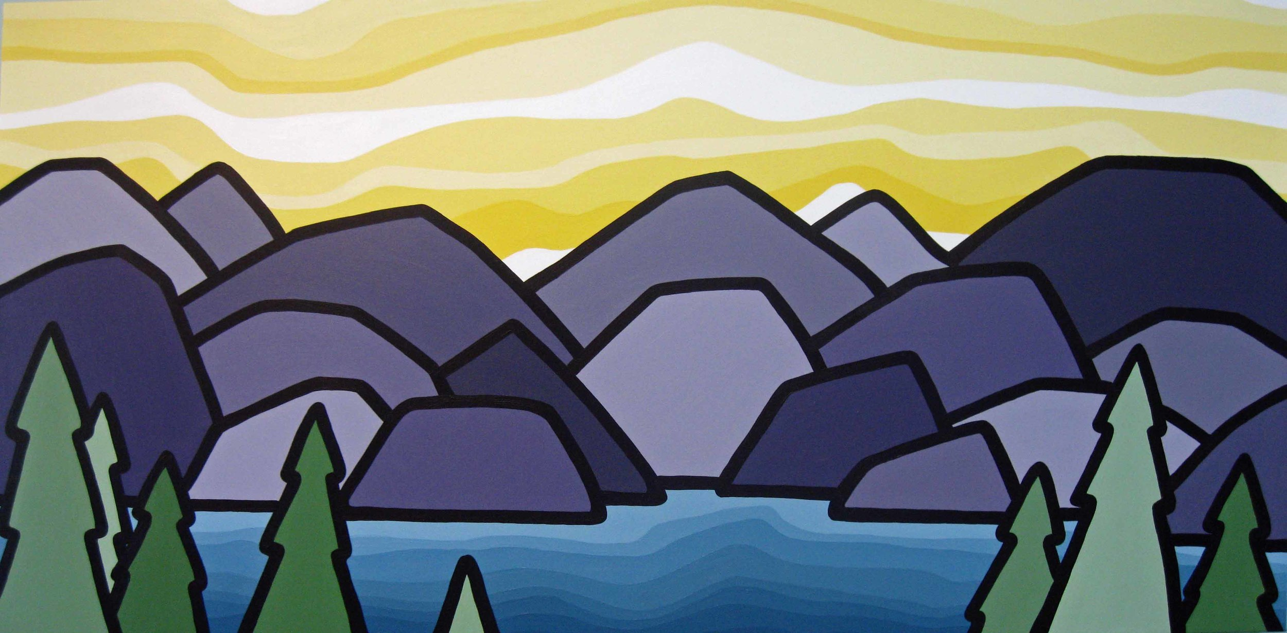"Title: The Inlet, 2012  Size: 24"" x 48"" acrylic on canvas  SOLD"
