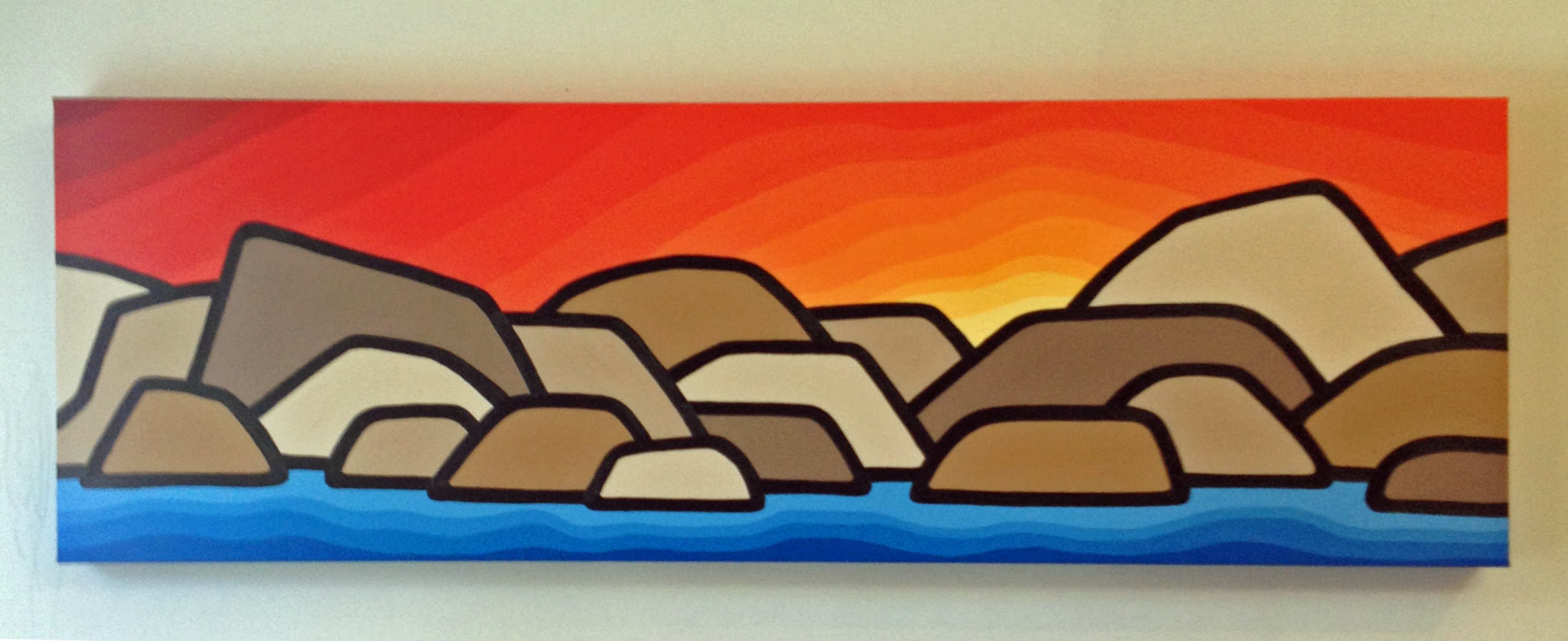 "Title: Along the River, 2014  Size: 12"" x 36"" acrylic on canvas  SOLD"