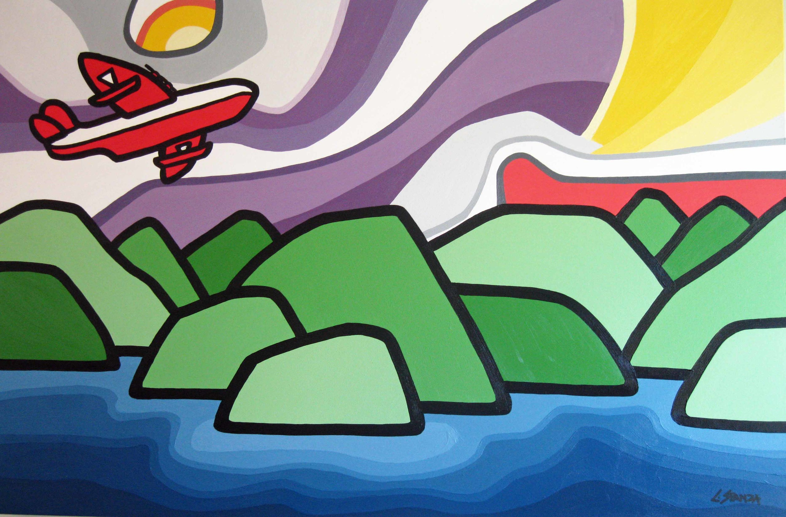 """Title: The Bomber, 24"""" x 36"""" acrylic on canvas - SOLD"""