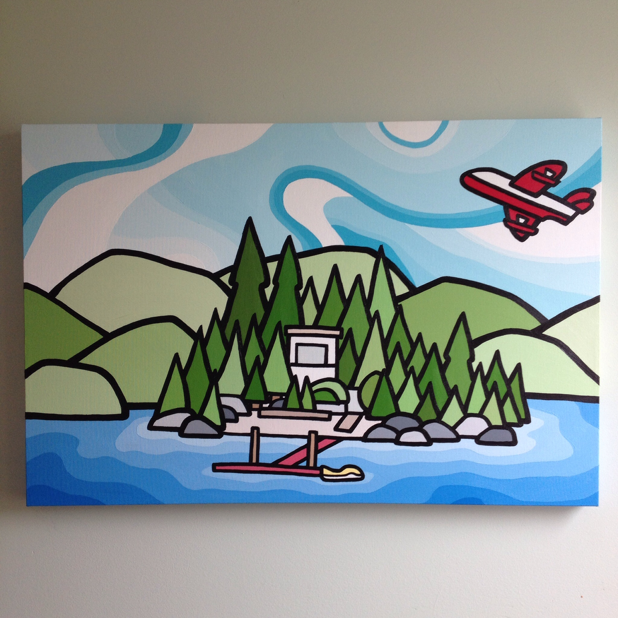 """Title: Sproat Lake Cabin & The Bomber. 24""""x36"""" acrylic on canvas. SOLD - commission"""