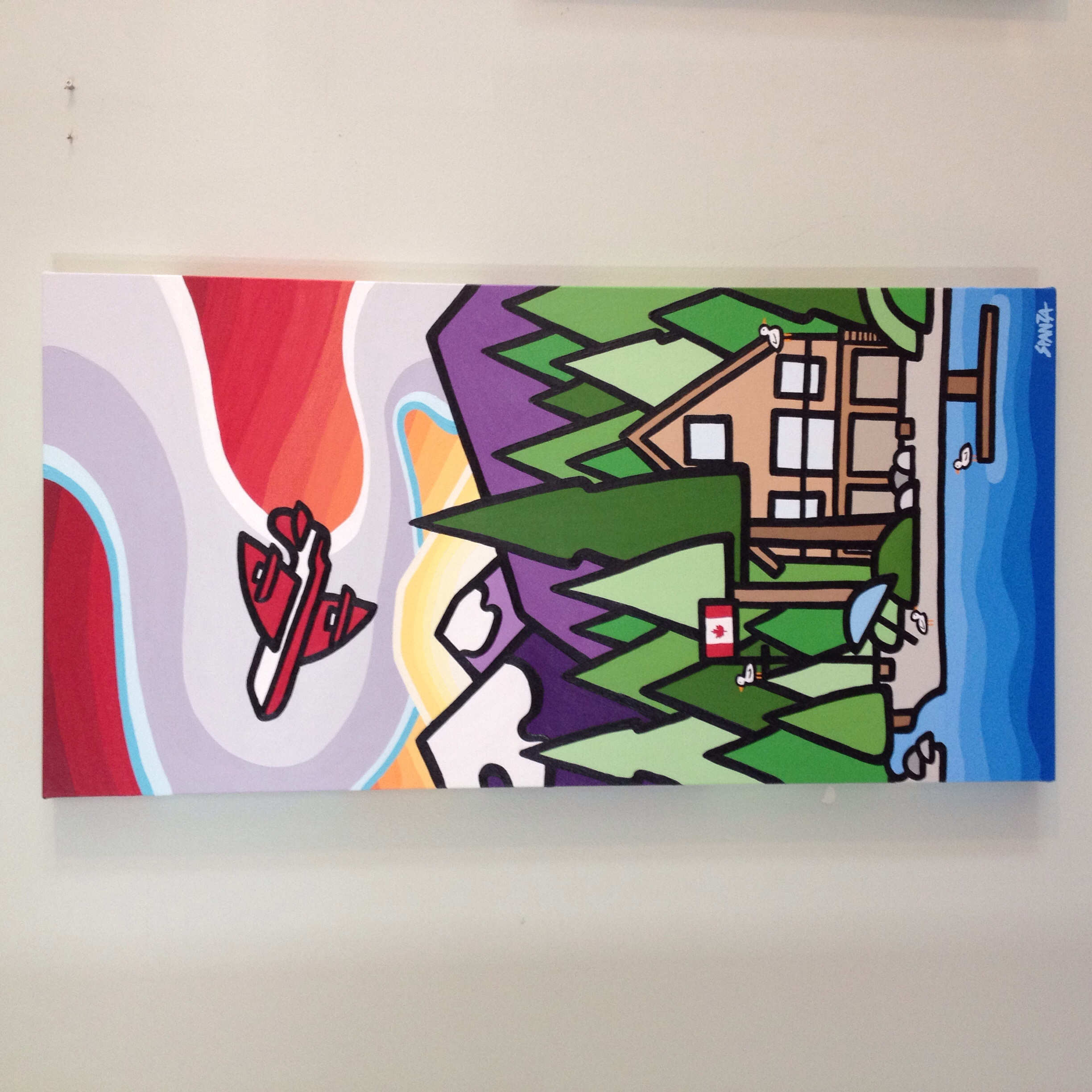 """My latest but not last commission that was given as a gift for a family with a cabin on Sproat Lake. 36"""" x 18"""" acrylic on canvas. SOLD - commission"""