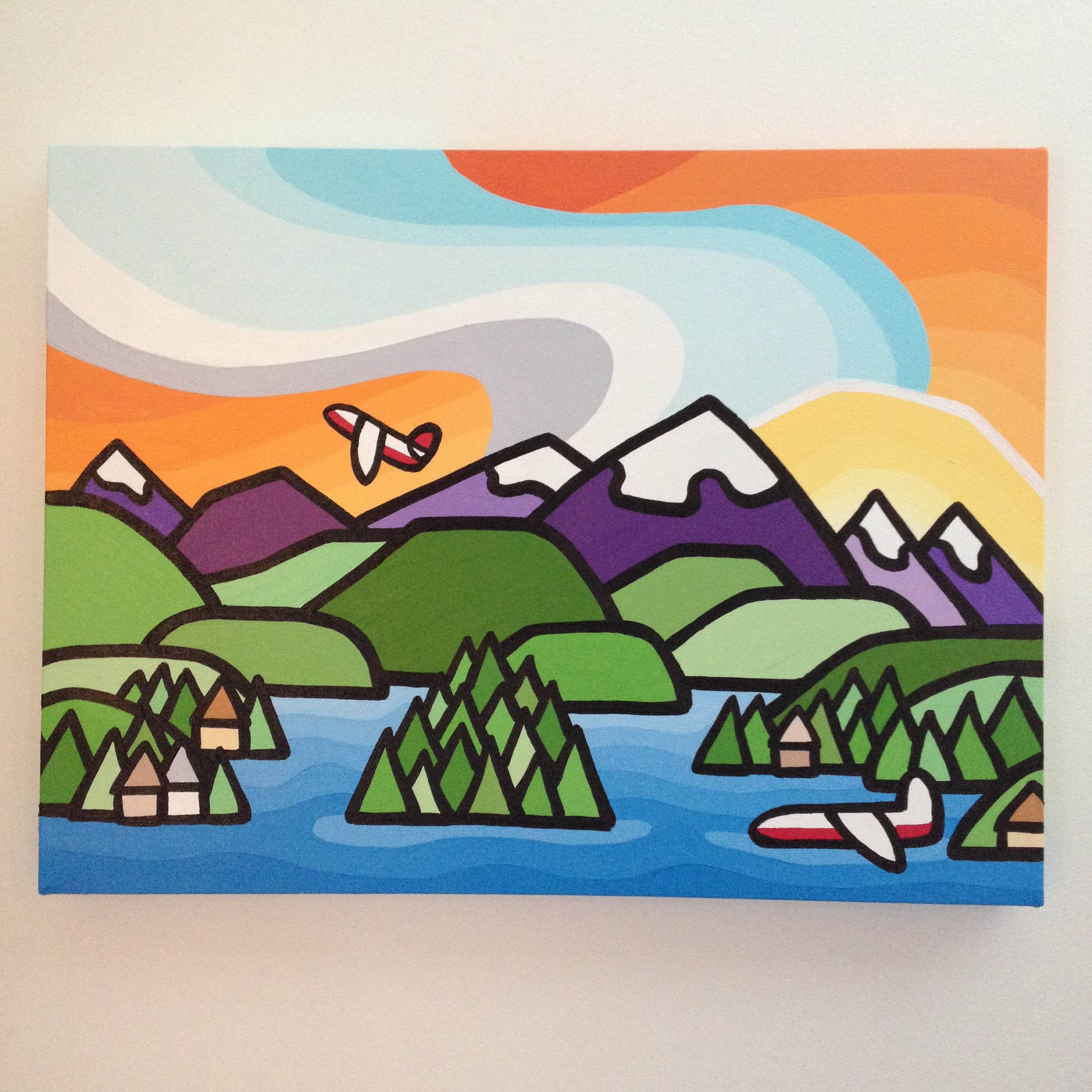 "Title: Sproat Lake  Size: 18"" x 24"" acrylic on canvas  SOLD"