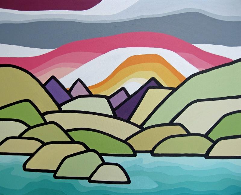 "Title: Hazy Summer Days (Kalamalka)  Size: 24"" x 30"" acrylic on canvas  SOLD"
