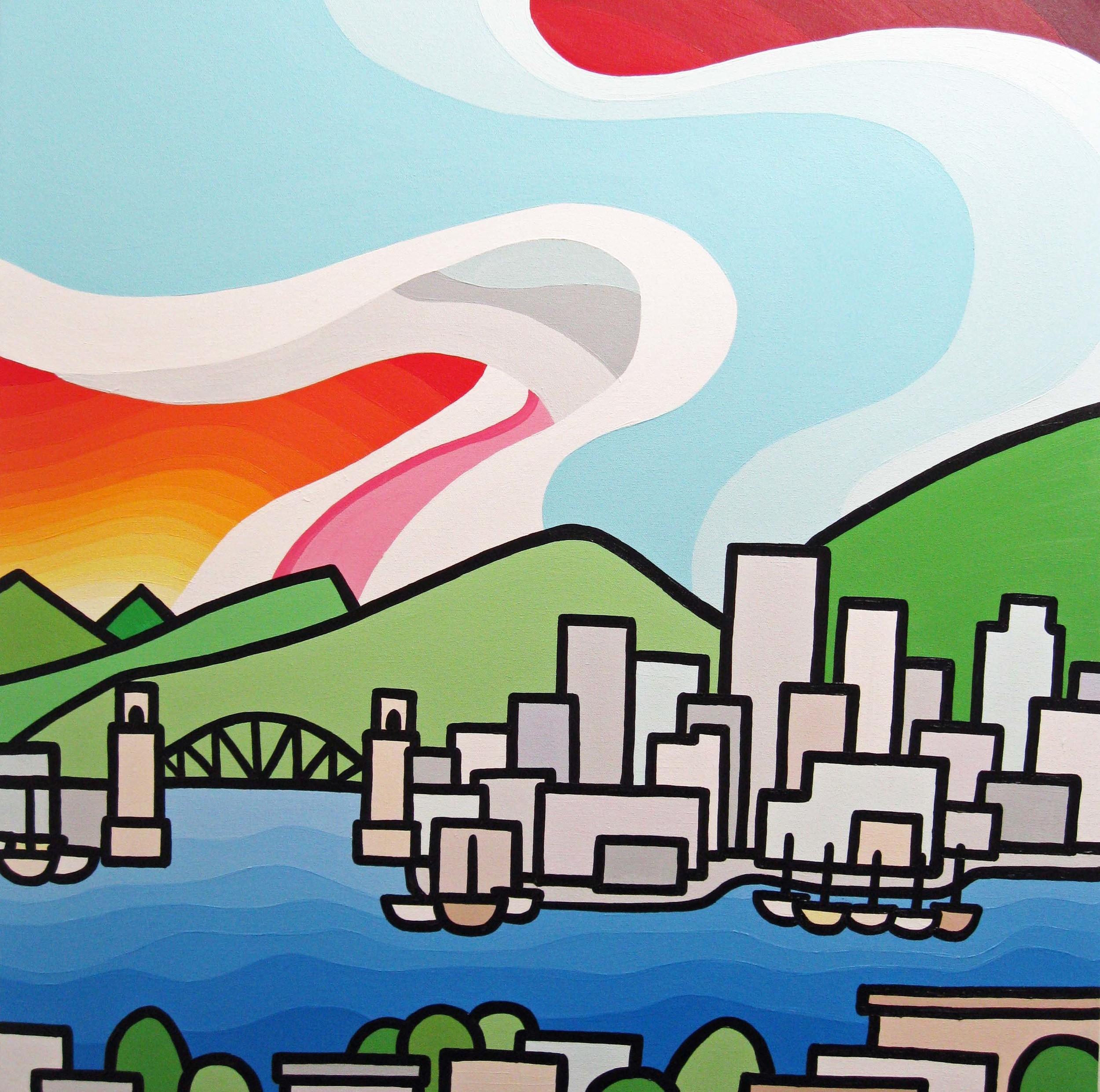 "Title: Burrard Bridge  Size: 30"" x 30"" acrylic on canvas SOLD"