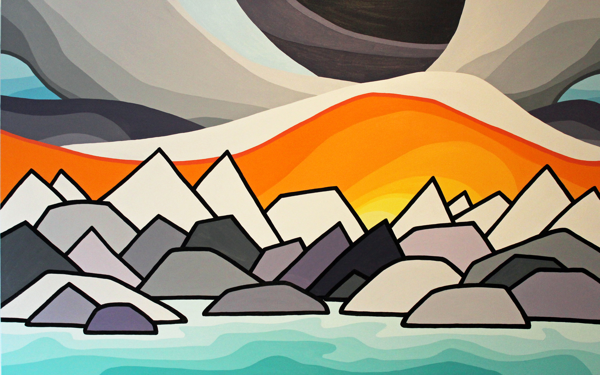 "North Shore Mountains 30"" x 48"""