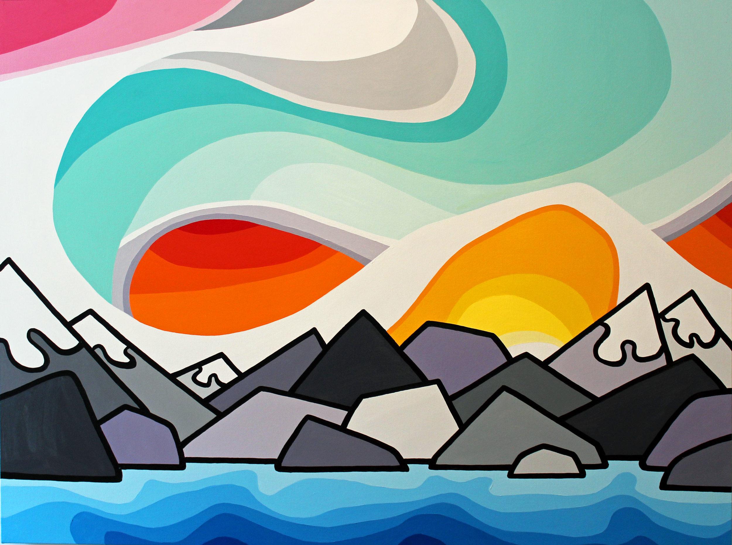 "Sunshine Coast and Mountains 30"" x 40"""