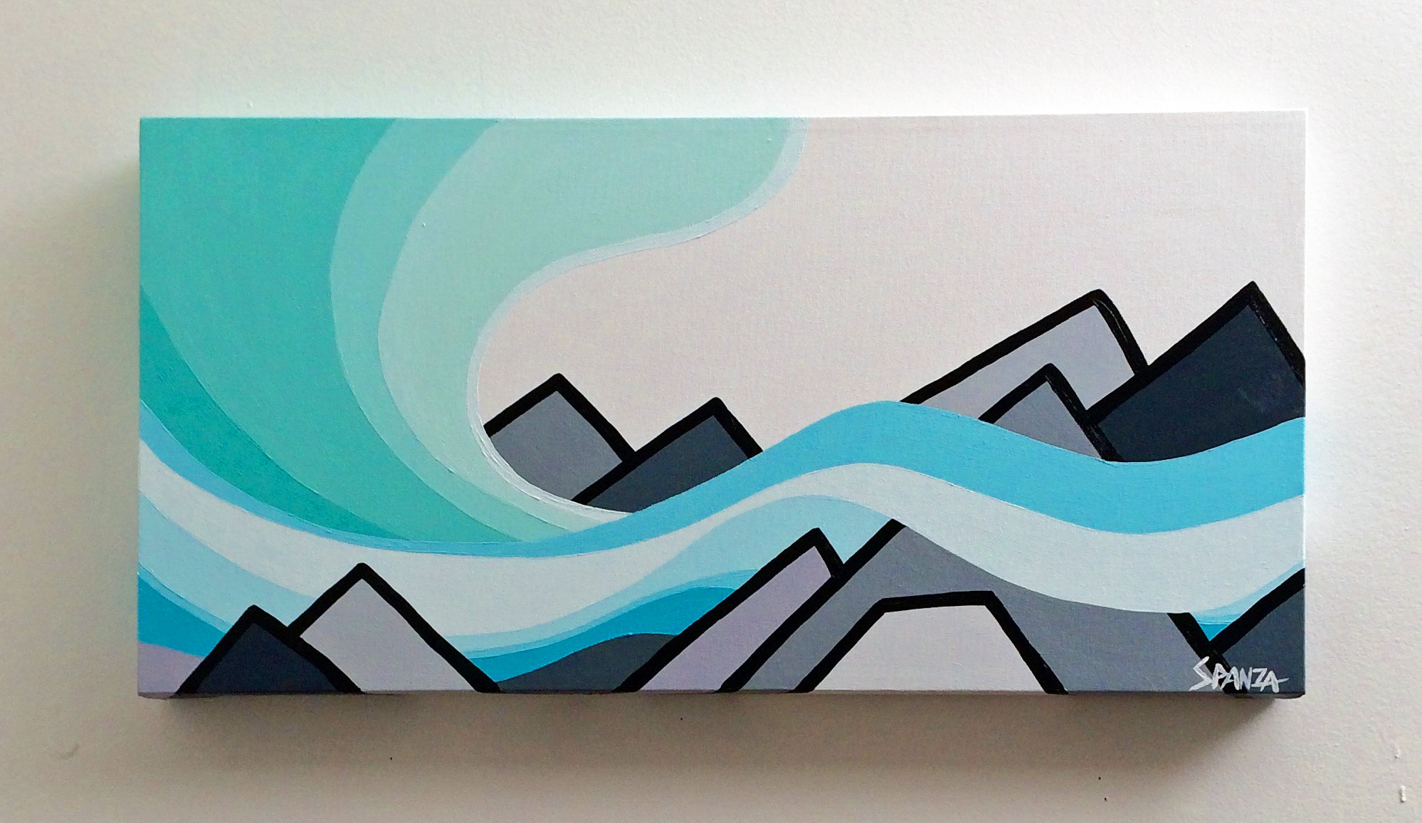"Northern Lights and Mountains 12"" x 24"""