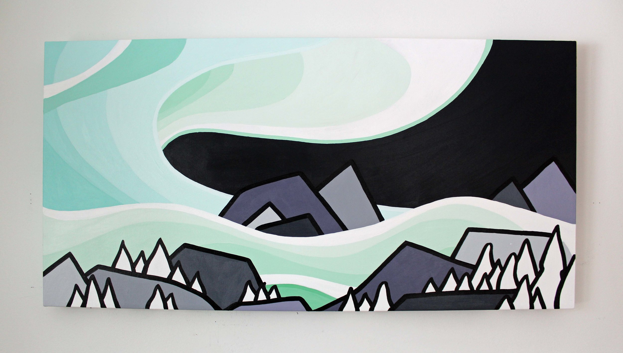 "Title: Northern Lights 18"" x 36"""