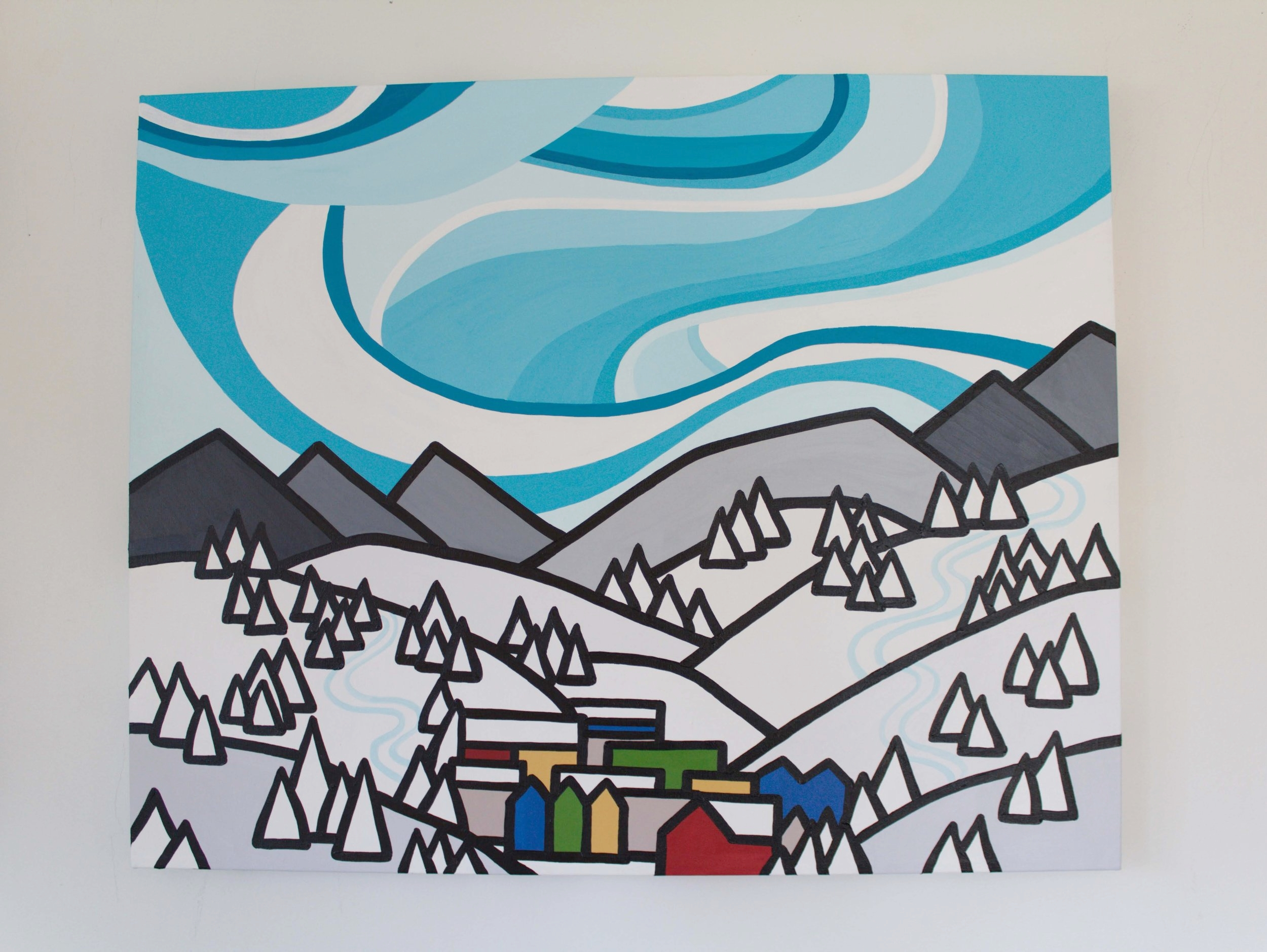 "Ski Town - Size: 24"" x 30"" acrylic on canvasPrice: SOLD"