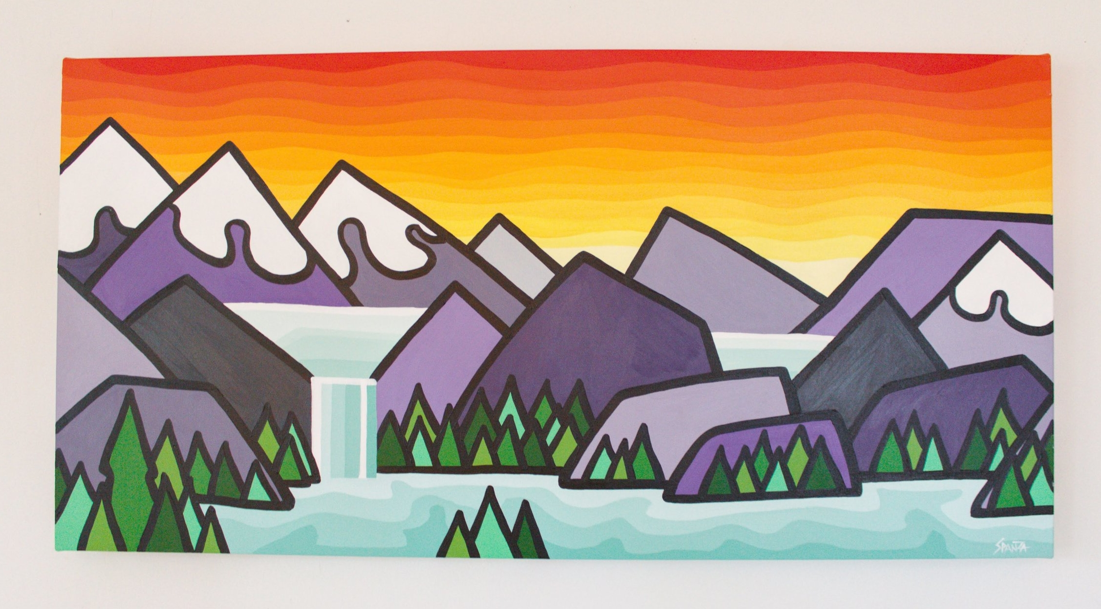 "Glacier Waterfalls - Size: 18"" x 36"" acrylic on canvasPrice: SOLD"