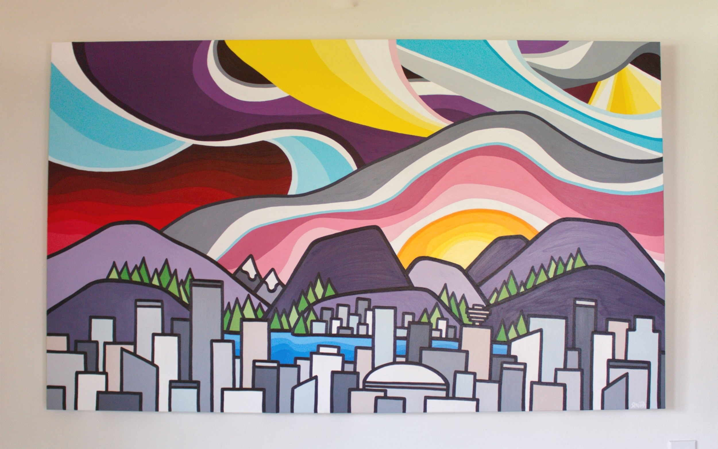 "The City - Size: 36"" x 60"" acrylic on canvasPrice: SOLD"