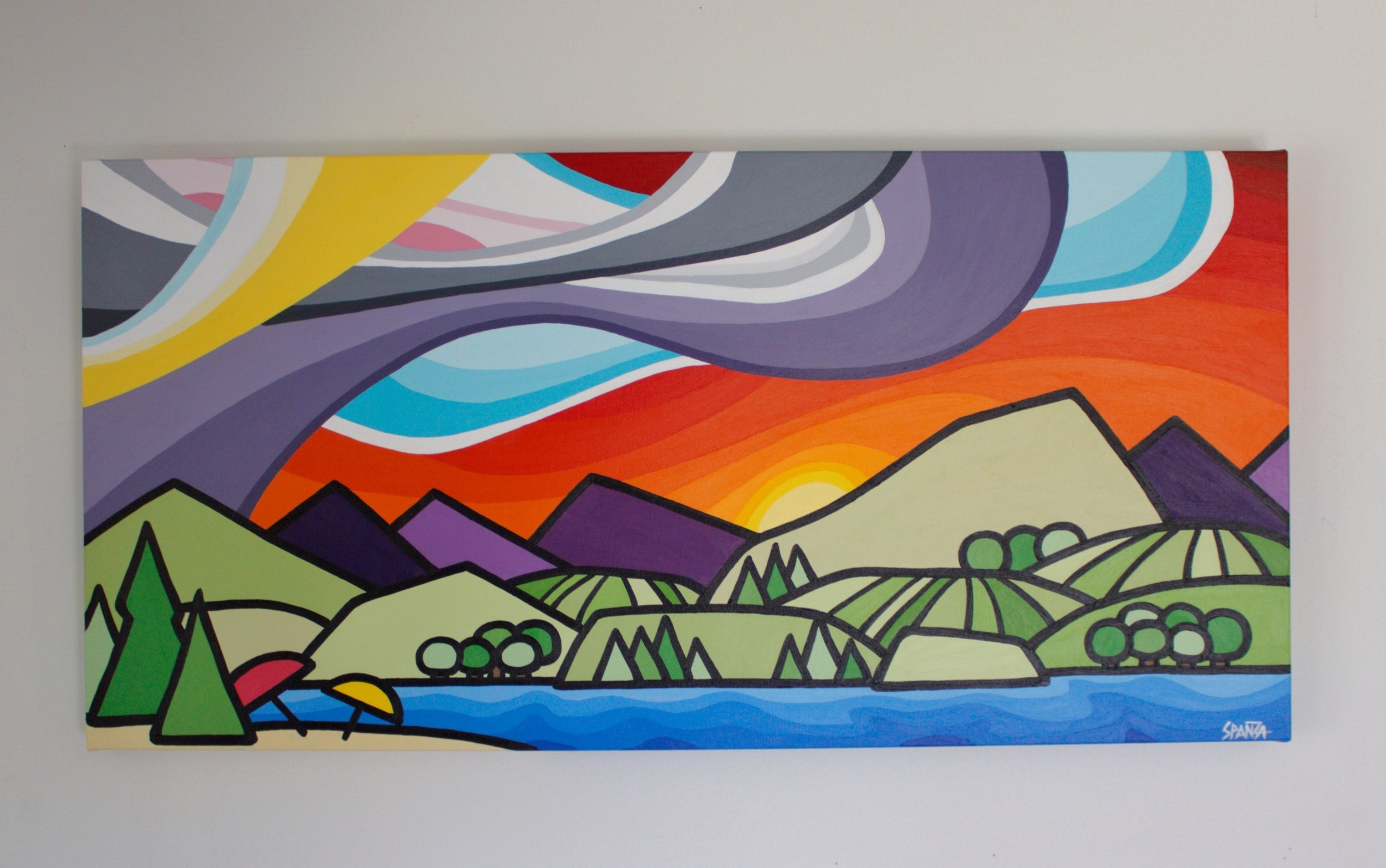 "Beach Days - Size: 18"" x 36"" acrylic on canvasPrice: SOLD"