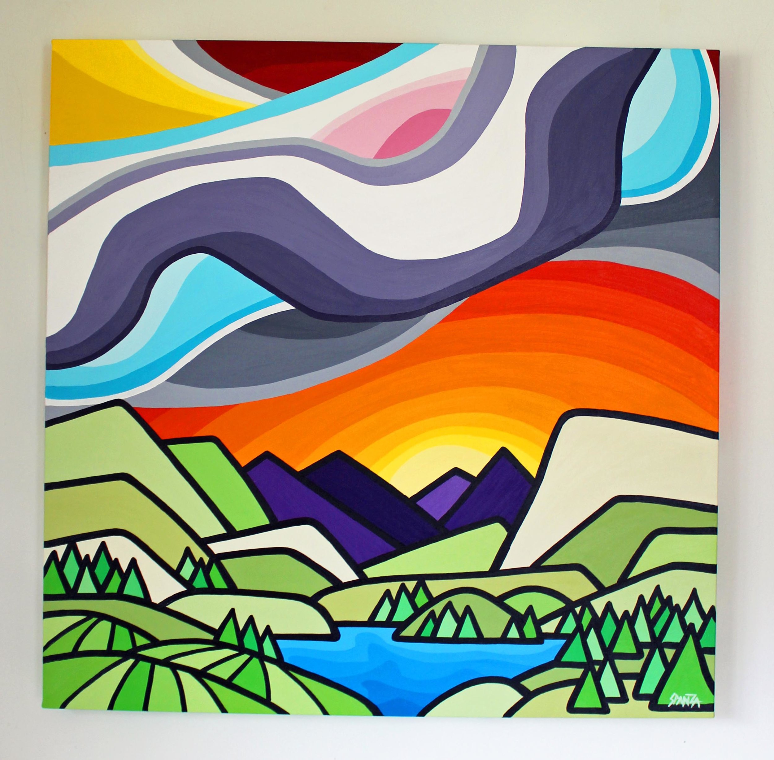 "Vaseux Lake - Size: 30"" x 30"" acrylic on canvasPrice: SOLD"