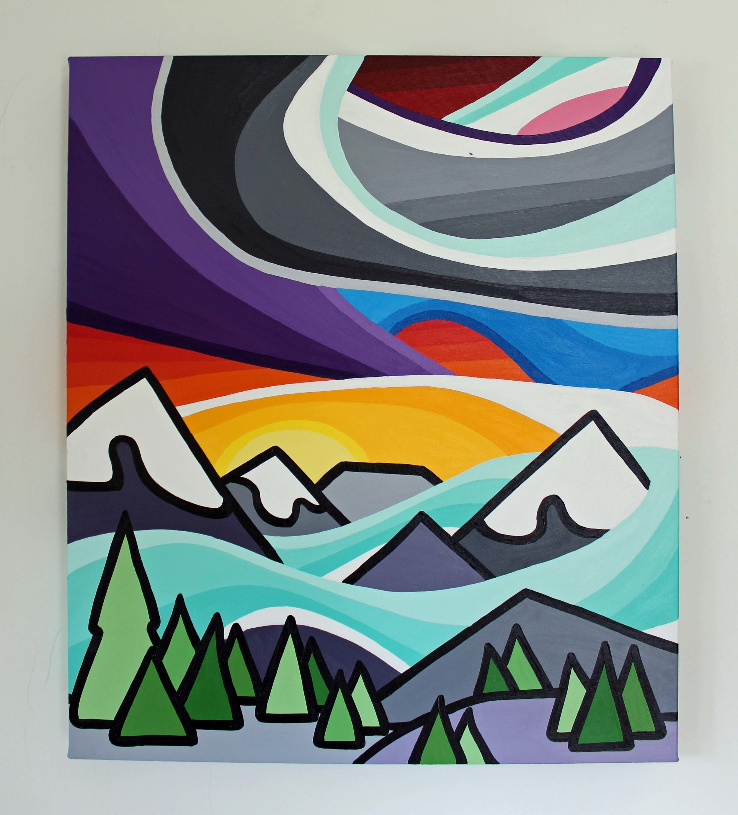 "Let's Go to the Mountains - Size: 24"" x 20"" acrylic on canvasPrice: SOLD"