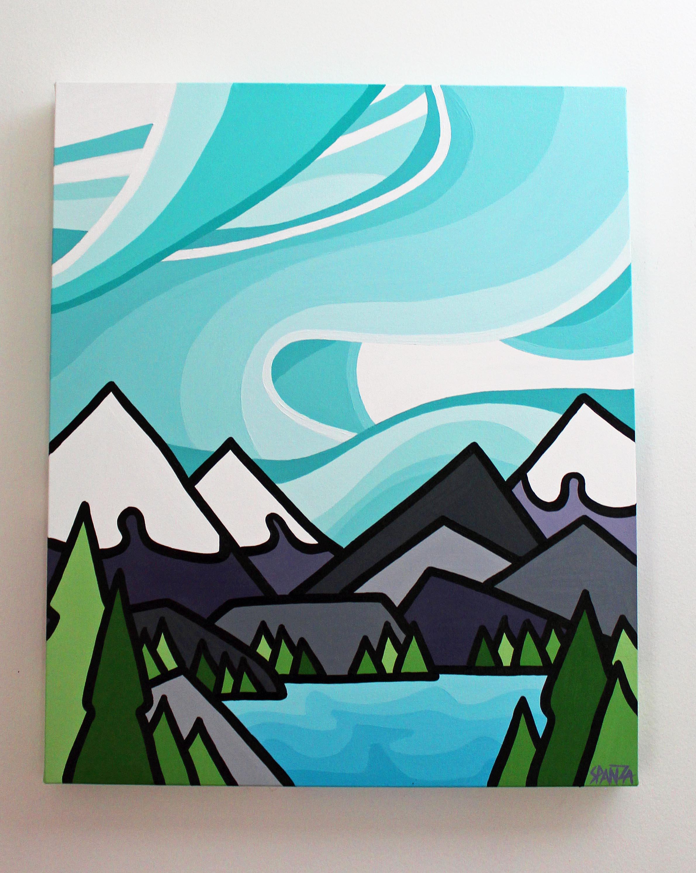 "Mountain Blues - Size: 24"" x 20"" acrylic on canvasPrice: SOLD"