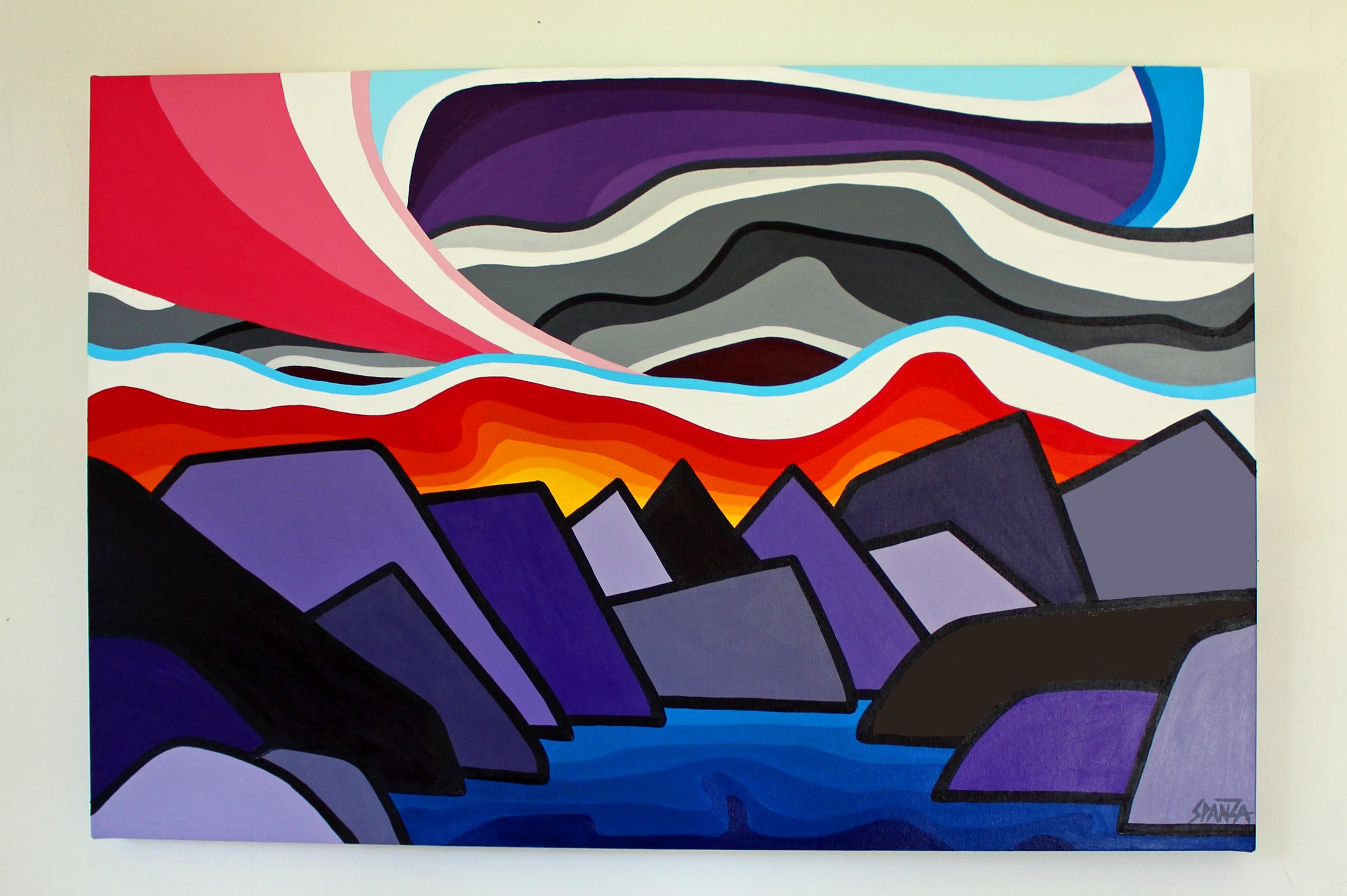"Mountain Lake - Size: 24"" x 36"" acrylic on canvasPrice: $700 shipping available"