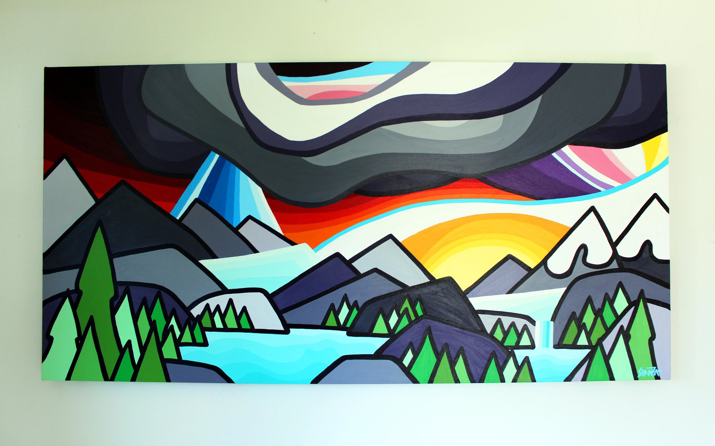 "Weather in the Mountains - Size: 24"" x 48"" acrylic on canvasPrice: SOLD"