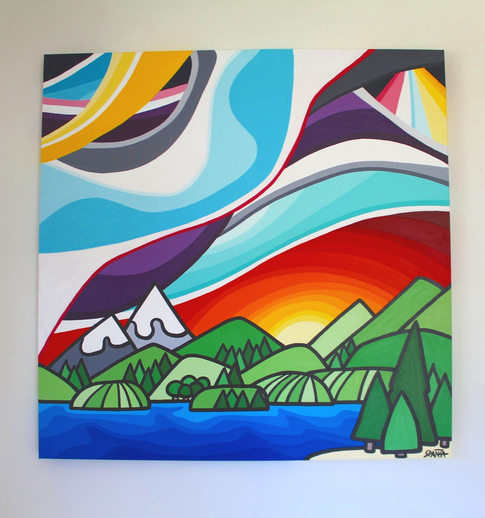 """Mountains and Water - Size: 36"""" x 36"""" acrylic on canvasPrice: $1000 shipping available"""