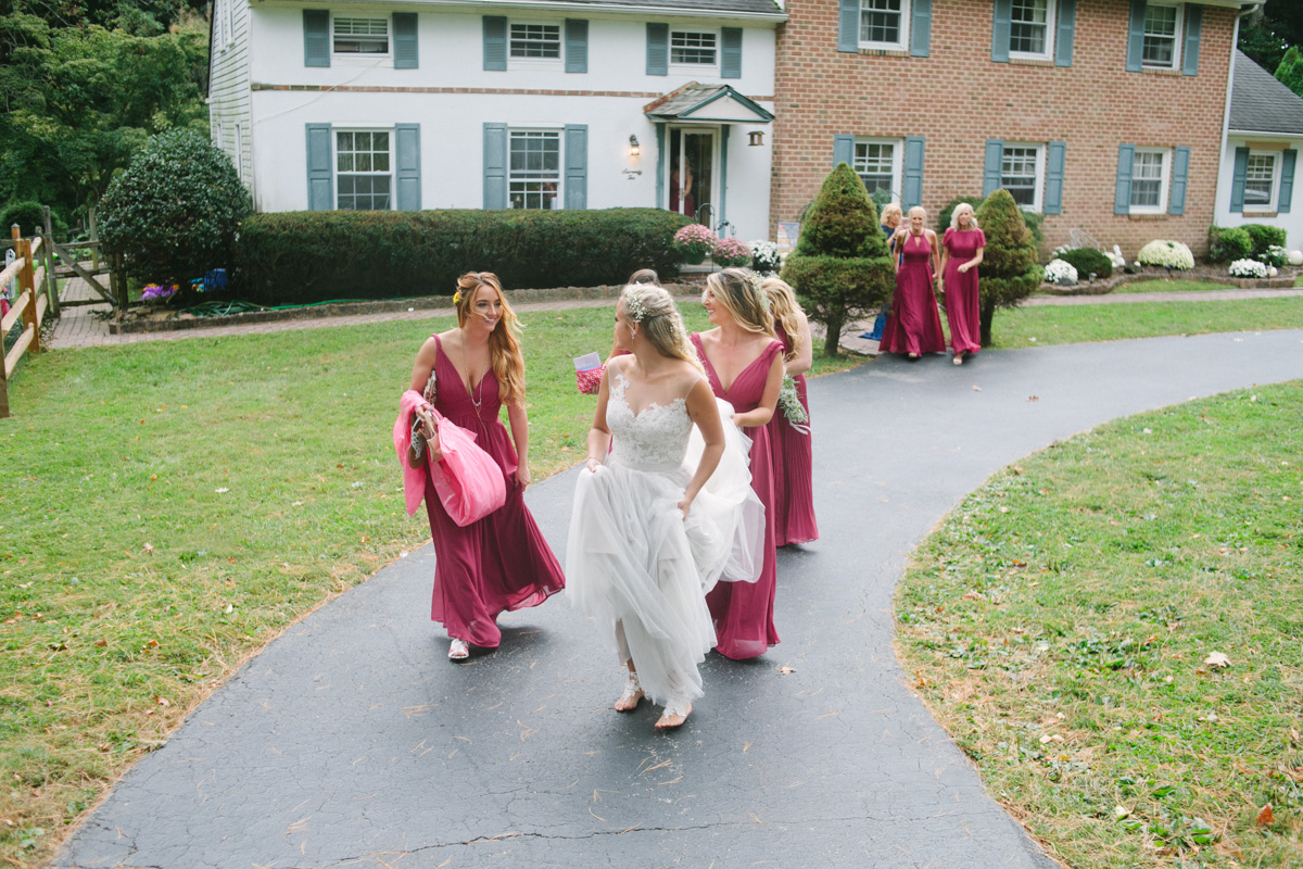 wedding party walking photo