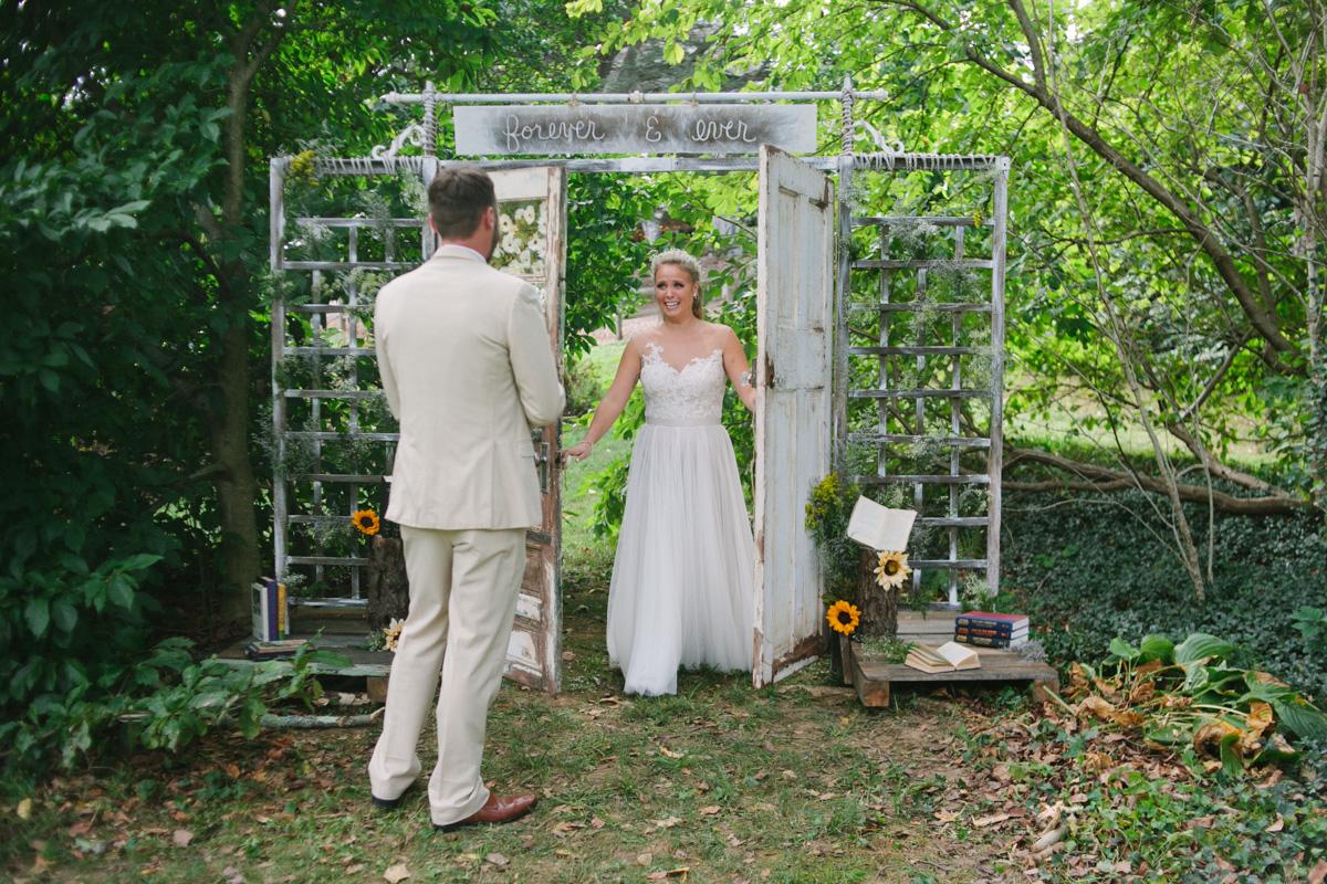 diy first look wedding door