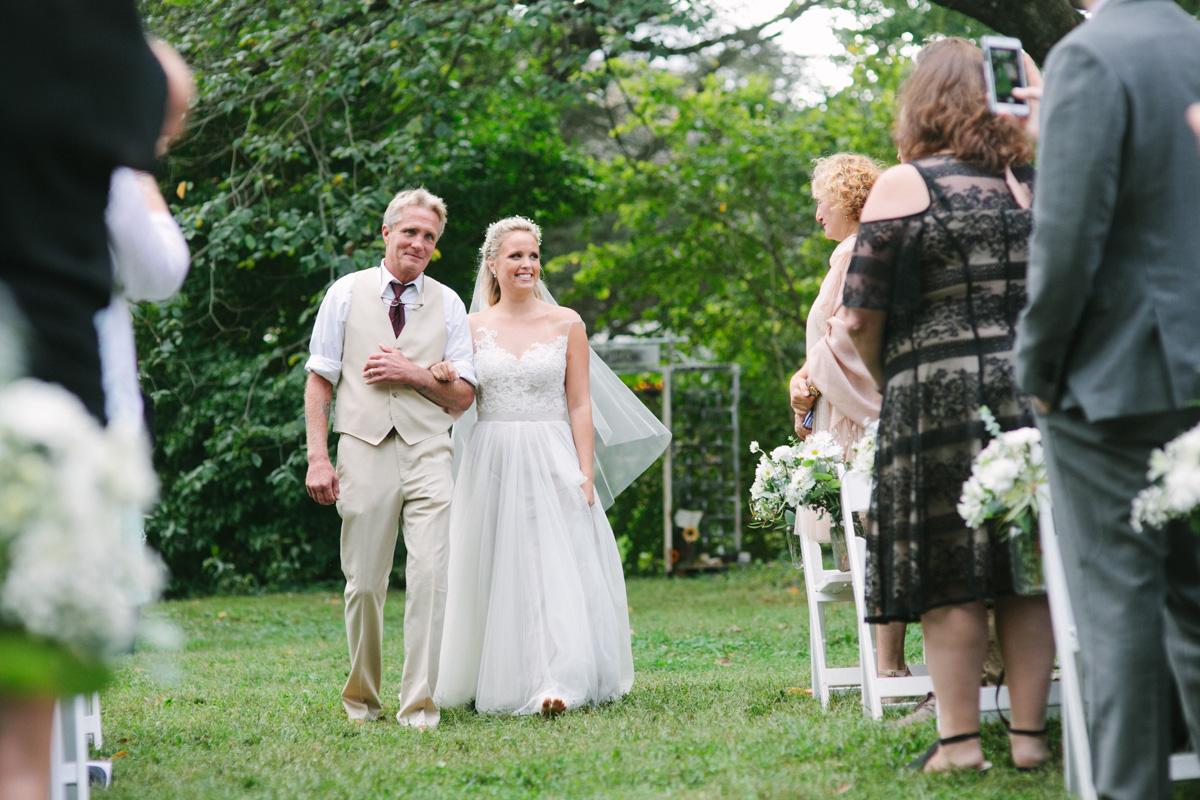 bride dad walking isle