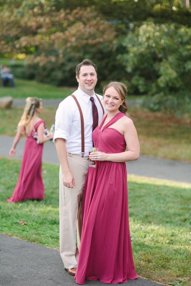 bridesmaid groomsman suspenders maroon
