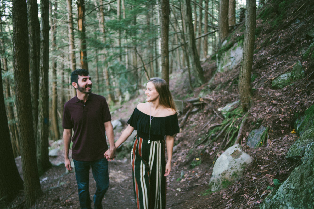 outdoor engagement session vermont woods