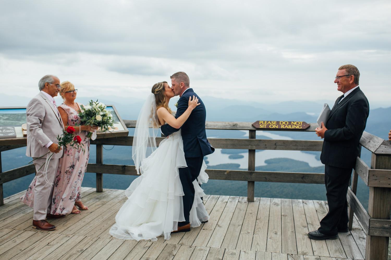 first kiss wedding bride groom