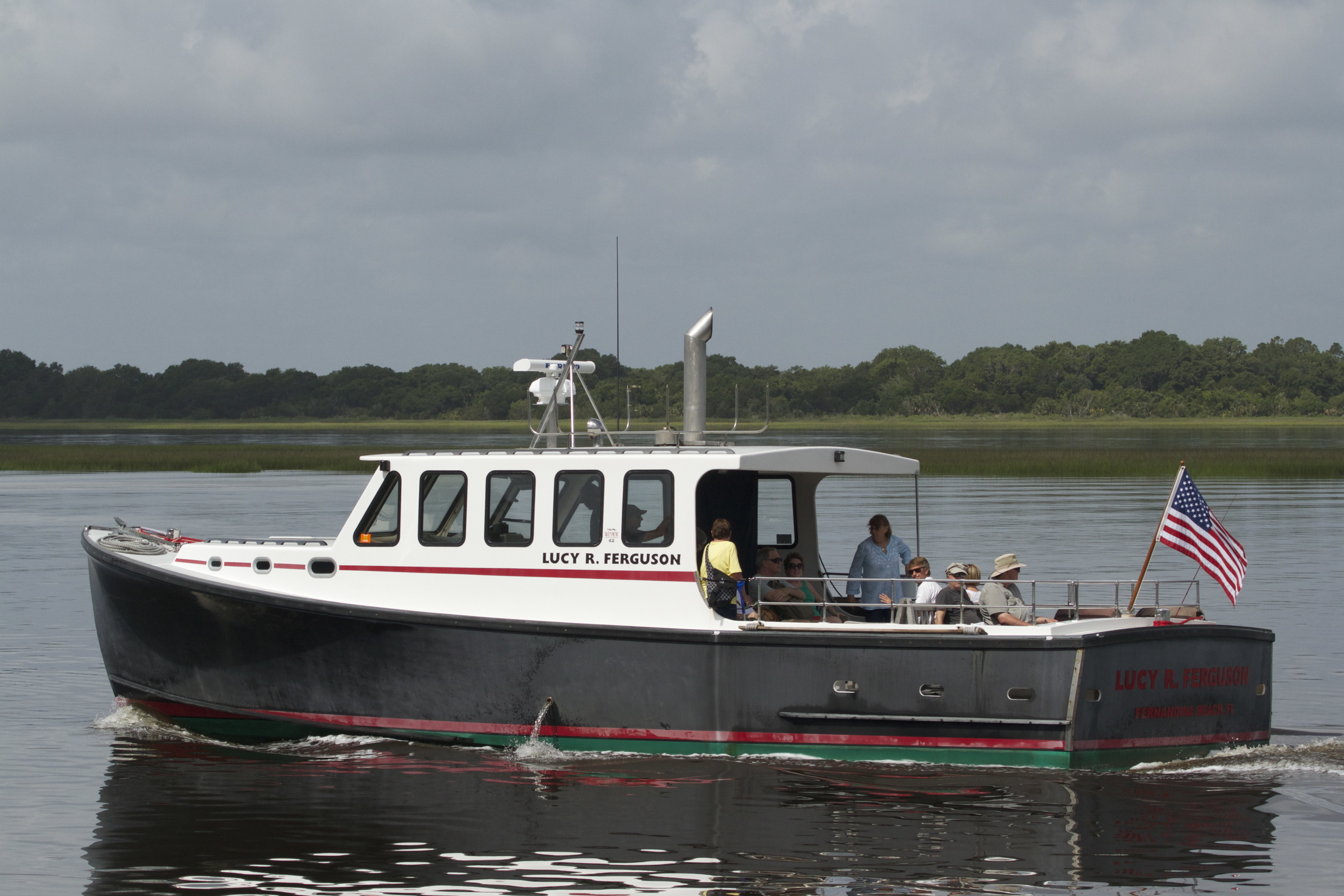The Greyfield Inn Ferry, the Lucy R Ferguson carries guests from Fernandina Beach Fl to Cumberland Island Ga.