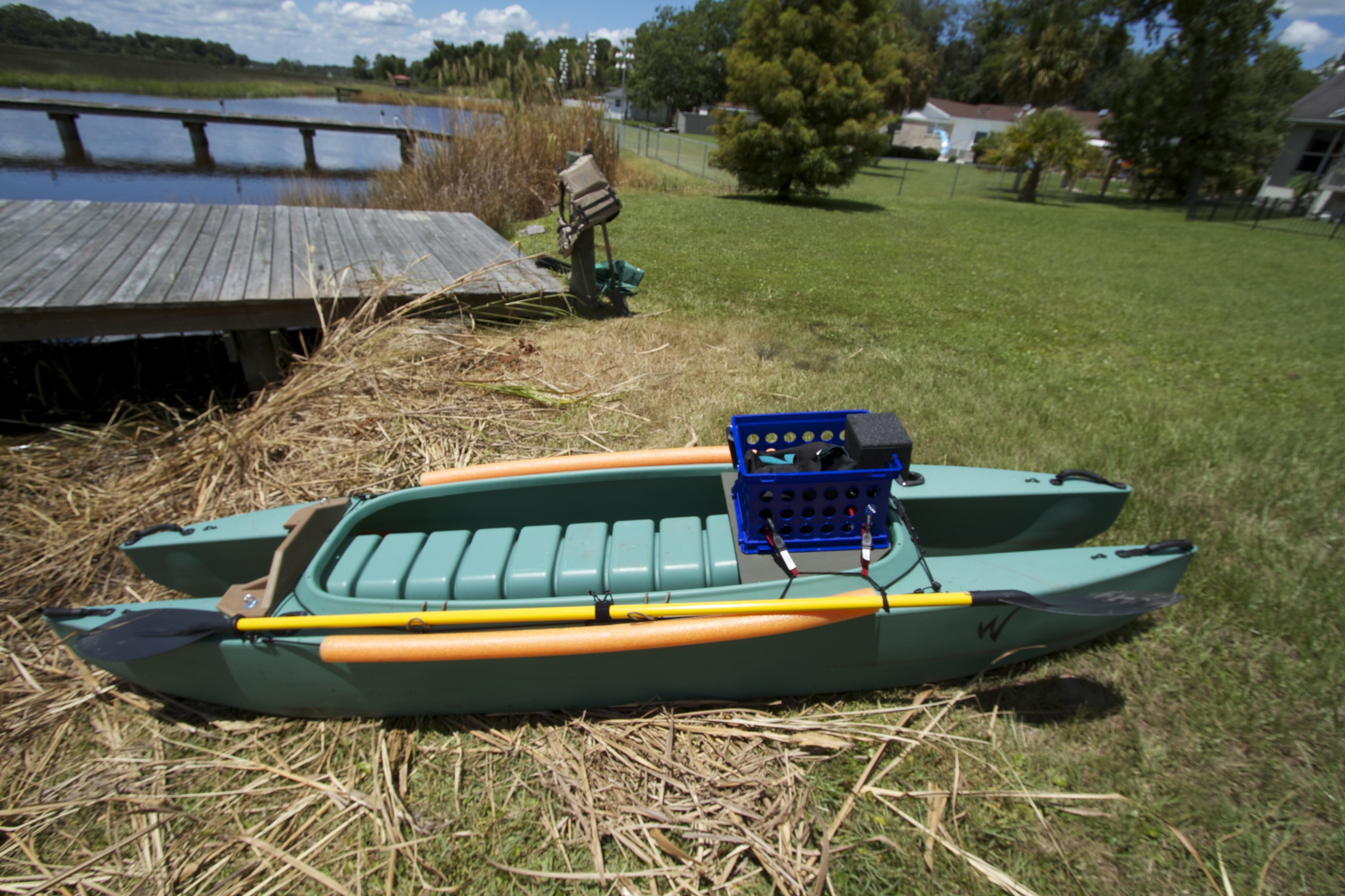 My new Wavewalk Kayak with initial outfitting. Length 11.4', width 28.5 in, wt 59 lbs. Max recommended load 360 lbs.