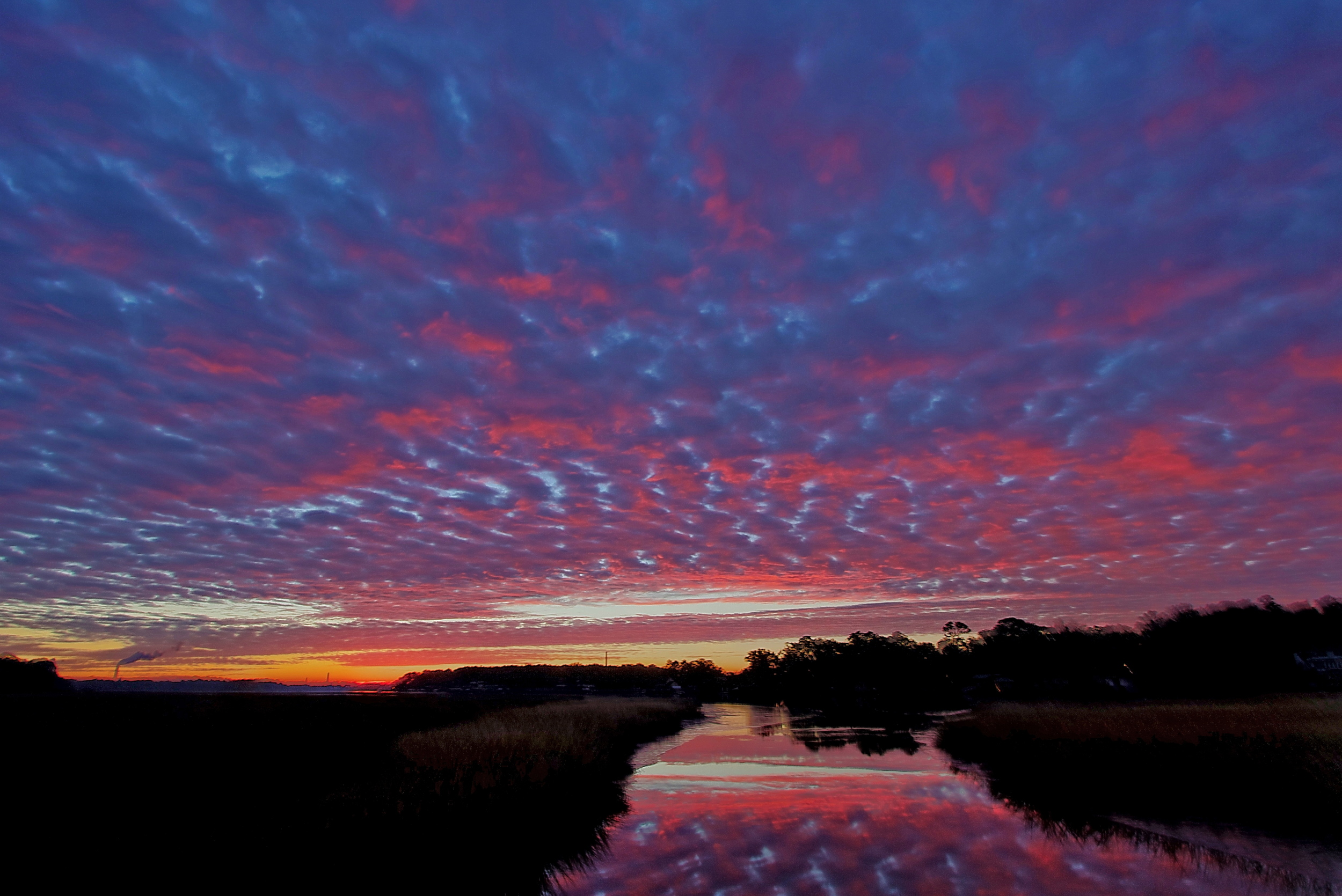 A red Mackerel sky over the Broward.