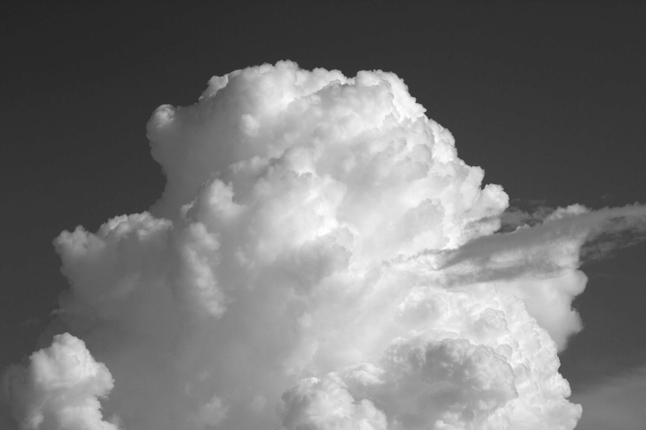 Billowing clouds in Black and White, frozen in time it seems.