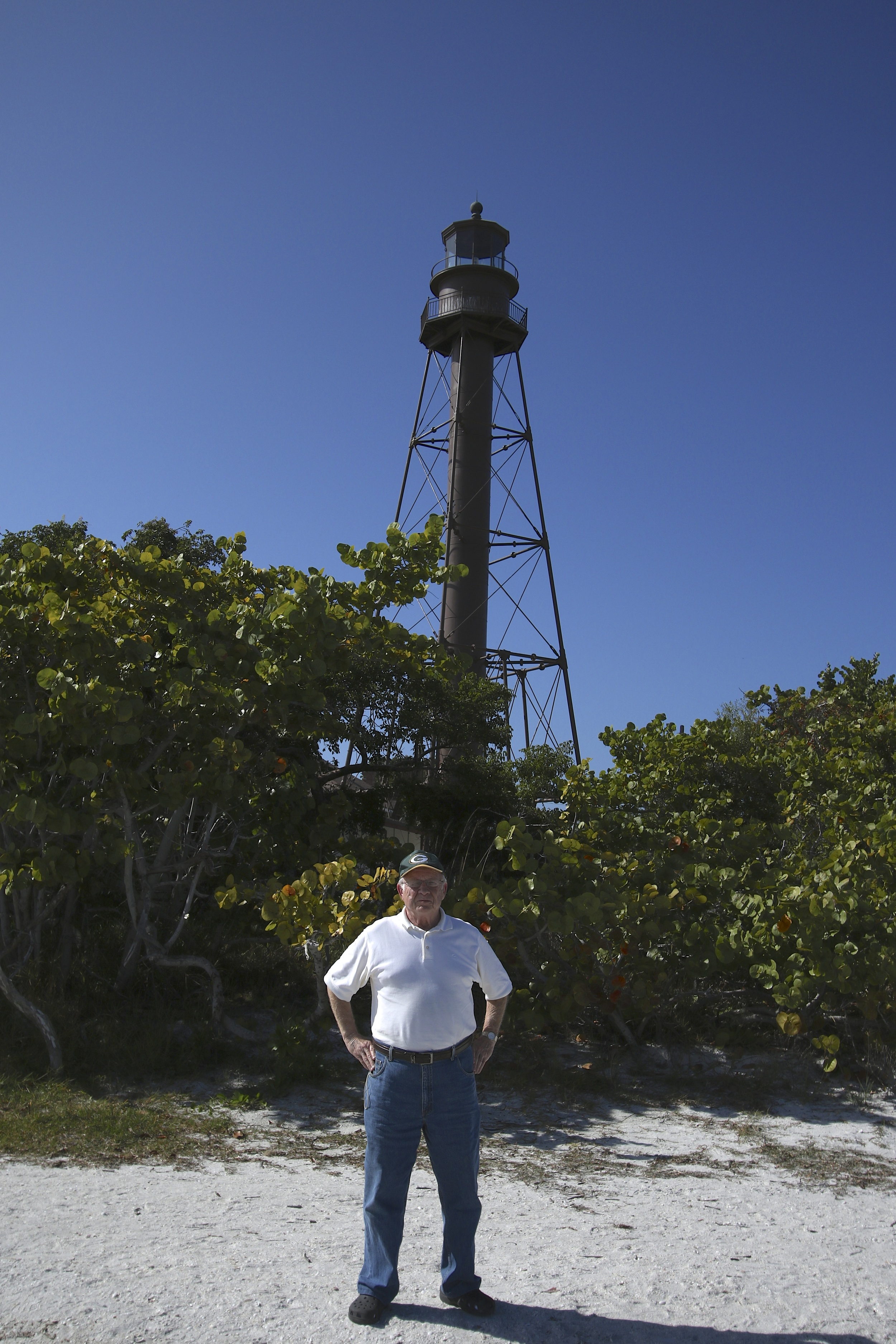 "Cousin Bill at the Sanibel  lighthouse….there were ""snowbirds"" at the beach swimming!"