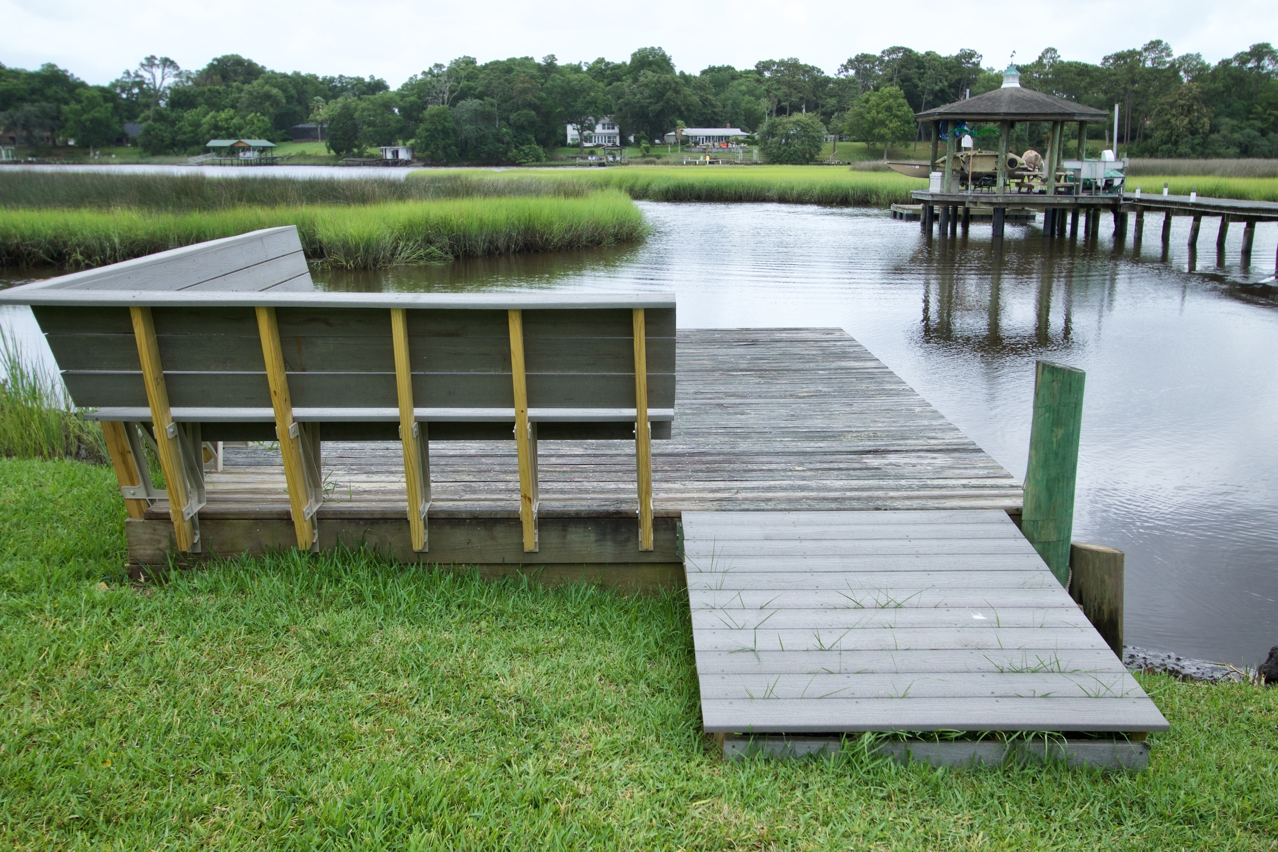 The Editor's redesigned dock benches and ramp.